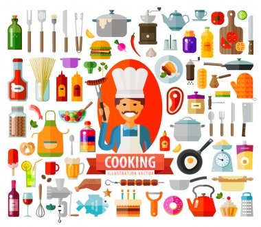 cooking. set of elements - chef, food, pan, frying pan, wine, coffee, cup, plate, kitchen, kettle, tools, jam, dessert, cake, barbecue, dough, meat, bread, spices, vegetables and other