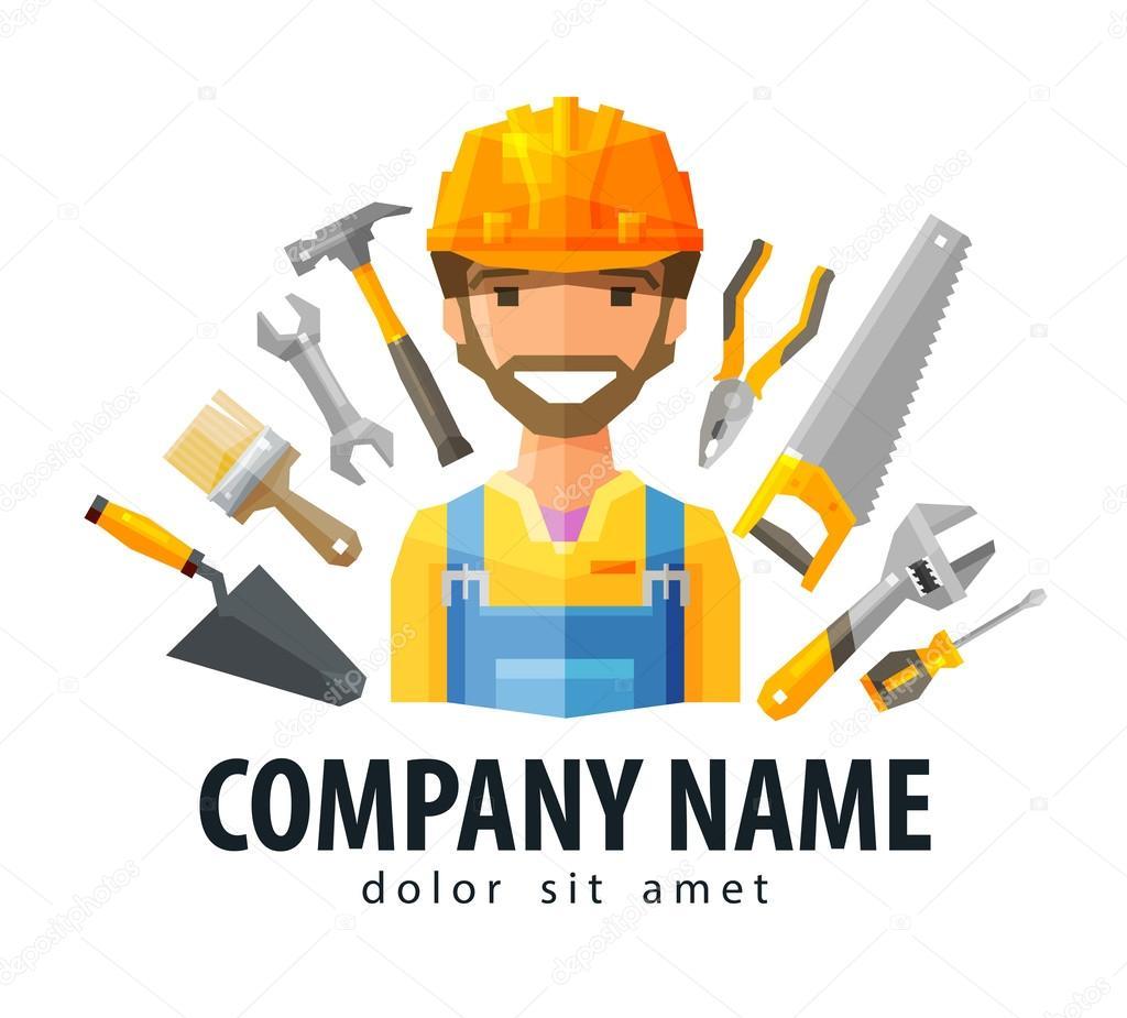construction worker vector logo design template builder