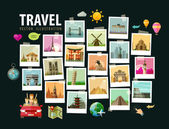 Photo Travel, vacation vector logo design template. photograph or historic architecture of the world icons