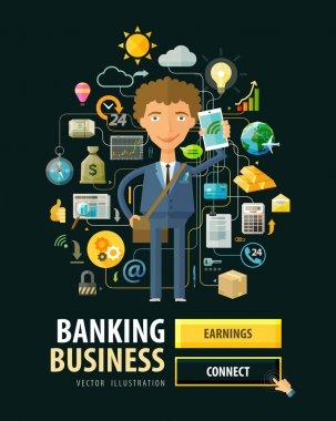 Banking business vector logo design template. Bank, earnings, money, cash or businessman, entrepreneur icons