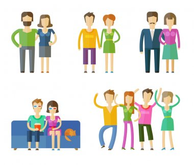 people, folk vector logo design template. married couple, life or party, partying icons