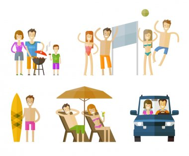 people on vacation icons set.  travel, journey, beach or barbecue signs. vector illustration