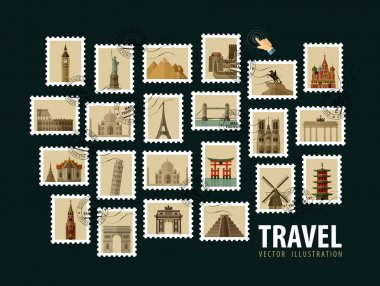 travel, vacation vector logo design template. postage stamp or historic architecture of the world icons