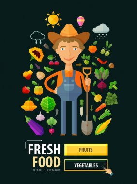 Fresh food vector logo design template. Gardening, horticulture, farm or fruits, vegetables icons
