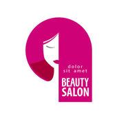 Beauty salon vector logo design template. Girl, woman or hair, barbershop icon