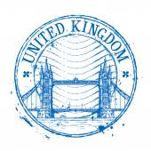 United Kingdom Vektor Logo Design-Vorlage. schäbige Briefmarke oder England, London-Ikone