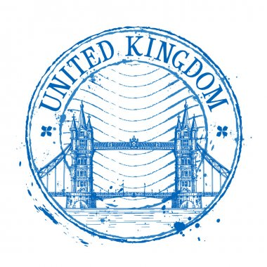 United Kingdom vector logo design template. Shabby stamp or England, London icon