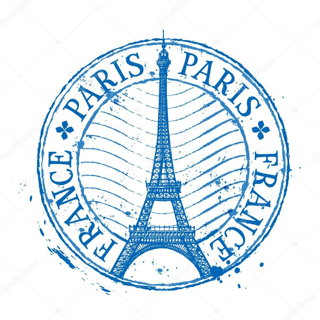 paris vector logo design template shabby stamp or france eiffel