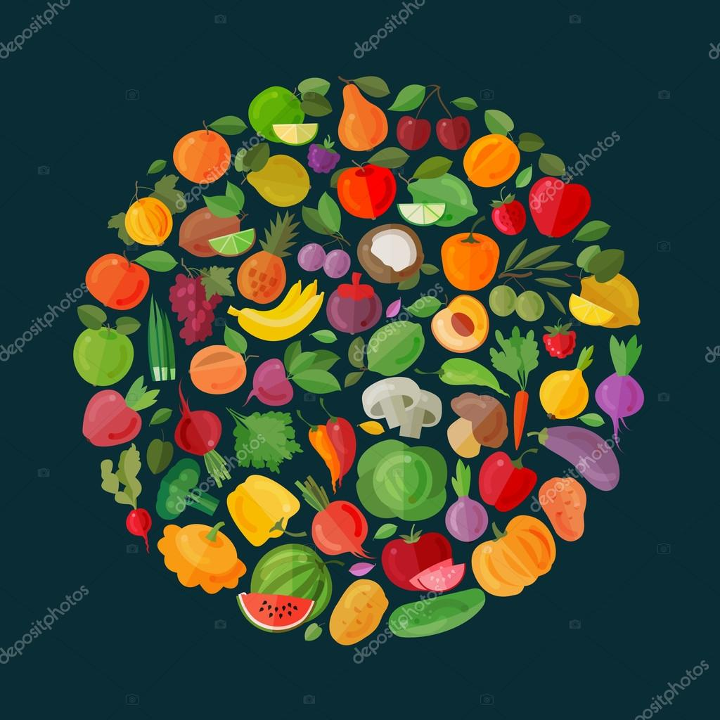 fruits and vegetables vector logo design template. food or garden icons
