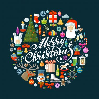 Merry Christmas vector logo design template. Happy New Year or holiday icons