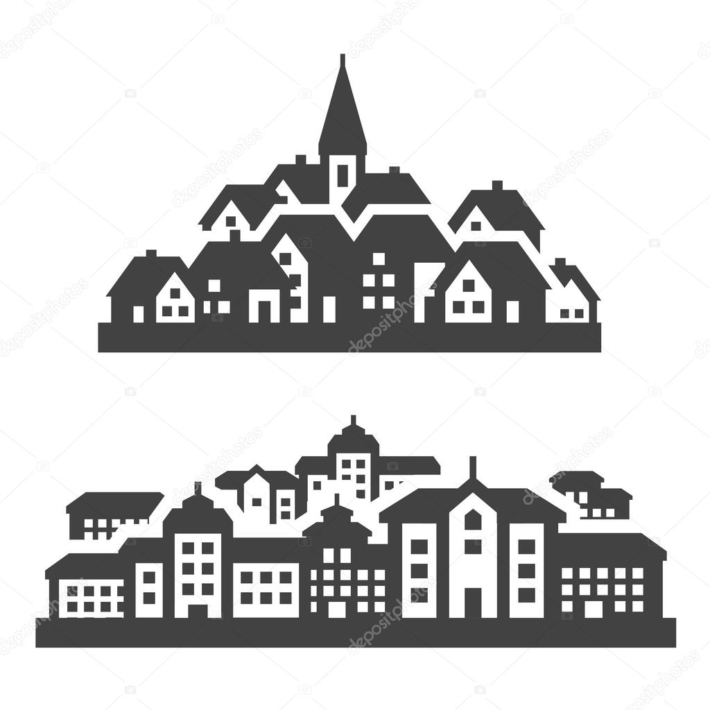 city, town icons set. signs and symbols