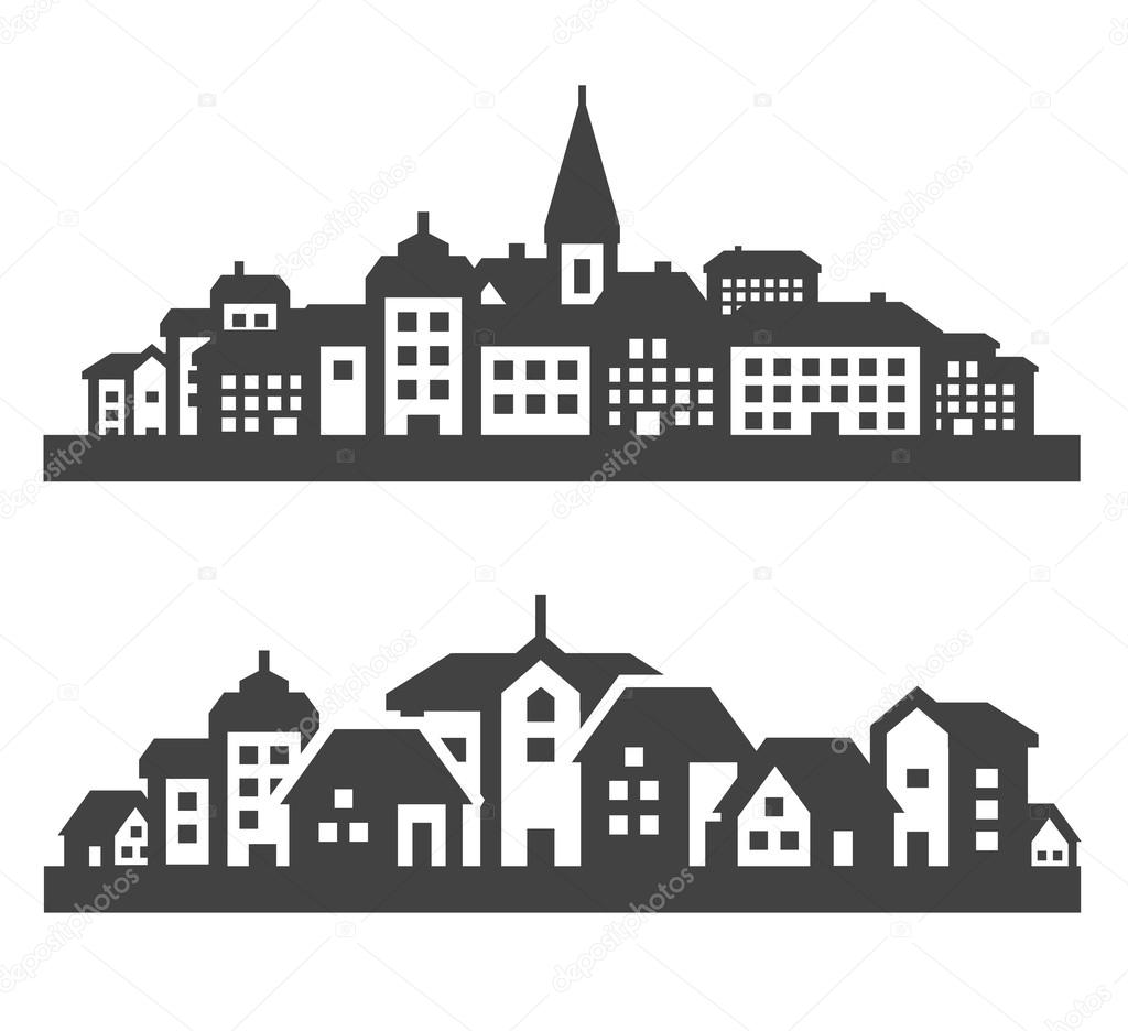 city icons set. signs and symbols