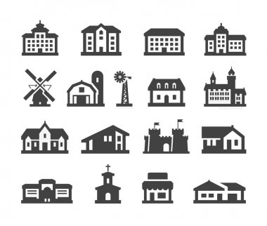 house icons set. collection elements hotel, real estate, school, castle, palace, church, store, shopping mall, cinema, home, farm, campus