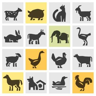 farm animals icons set. signs and symbols
