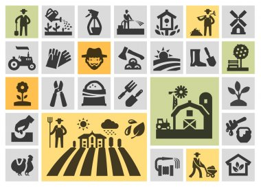farm icons set. collection elements grower, gardener, field, honey, plant, harvest, barn, tractor, tree, chicken, watering can, birdhouse, windmill, axe, farmer, garden hose, bench, sack of grain, flo