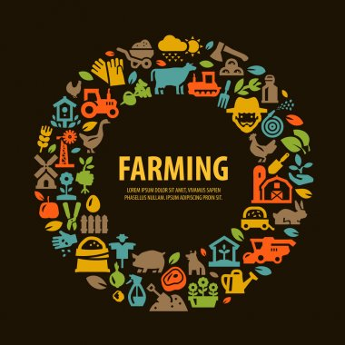 farm set icons. signs and symbols