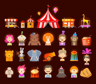 circus icons set. vector illustration