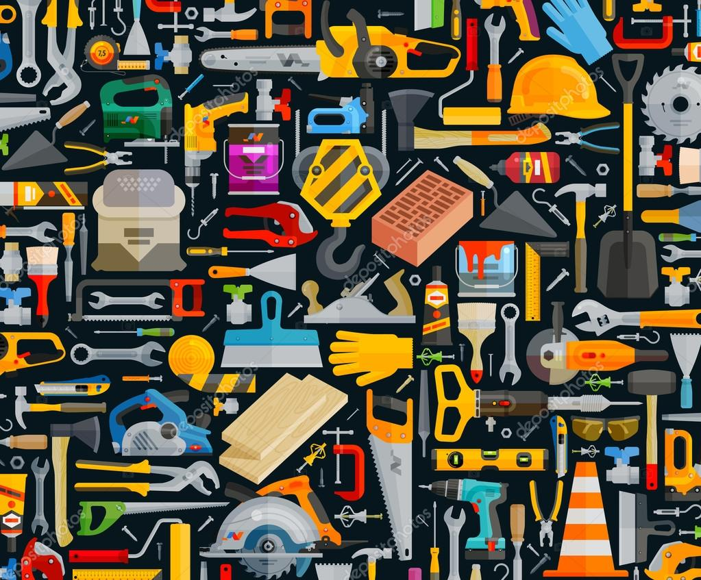 construction and repair. working tools set color icons