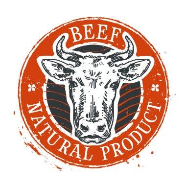 cow vector logo design template. beef or farm icon