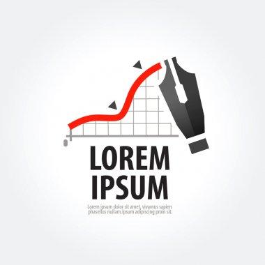 business vector logo design template. stock exchange or fountain pen icon