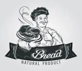 kenyér vektor logo design sablon. Cukrászda és pékség ikon