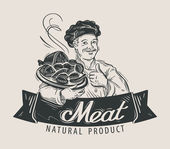 Photo meat logo design template. food or restaurant icon