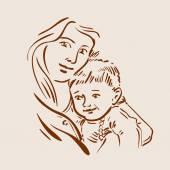 Handgezeichnete Skizze junge Mutter und Kind. Vektorillustration