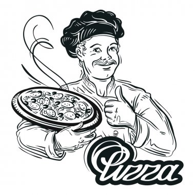 hand-drawn chef with pizza in his hand on a white background