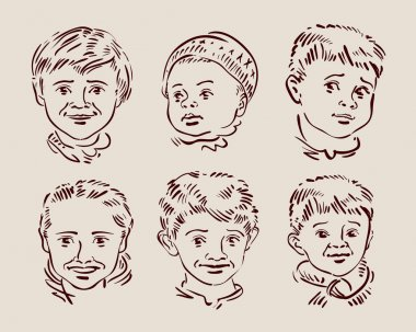 hand-drawn faces of children. sketch. vector illustration