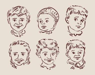 Hand-drawn faces of children. sketch. vector illustration