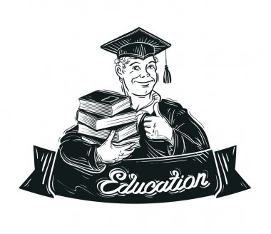 education vector logo. school, college or student, graduate icon