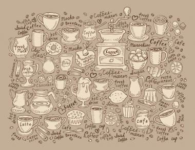 Hand drawn doodle set coffee. Vector illustration