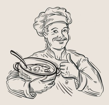 hand drawn happy chef with pan in hand. vector illustration
