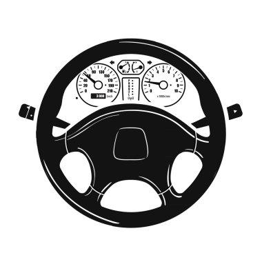 car steering wheel vector logo. vehicle, automobile icon