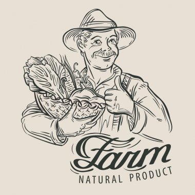 farmer with a basket of fresh vegetables. vector illustration