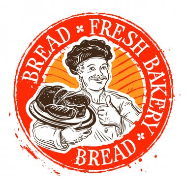 bread and the baker. stamp. vector illustration