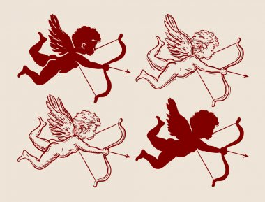 Flying Cupid with bow and arrow. vector illustration stock vector
