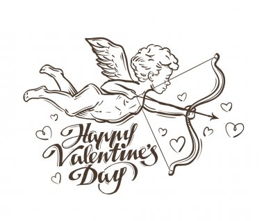 Happy Valentines day. flying Cupid. vector illustration