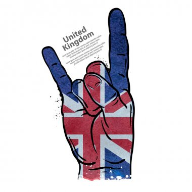 hand gesture cool, rock and roll. flag of england, britain, uk. vector illustration