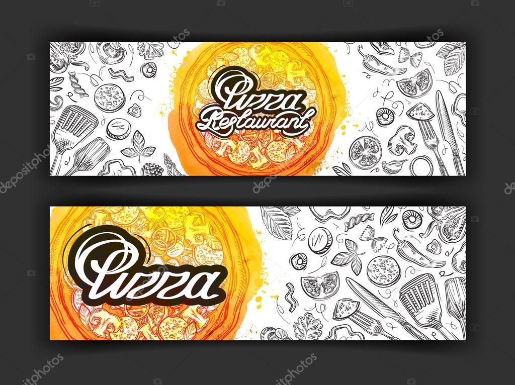 modelo de design de logotipo de vetor pizza   u00edcones de