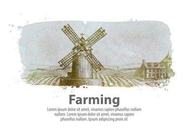 """Картина, постер, плакат, фотообои """"Сельское хозяйство или старый ветреной мельницы. Векторные иллюстрации"""", артикул 98491052"""