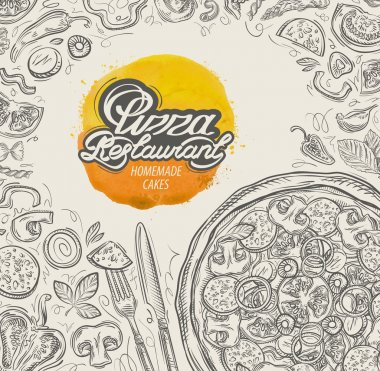 vector hand drawn pizza restaurant sketch and food, drinks doodle