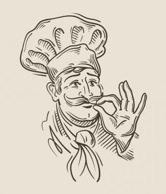 chef sketch. vector illustration