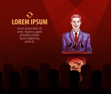 Auction, bidding or a press conference. man at the podium speaks to people. vector illustration
