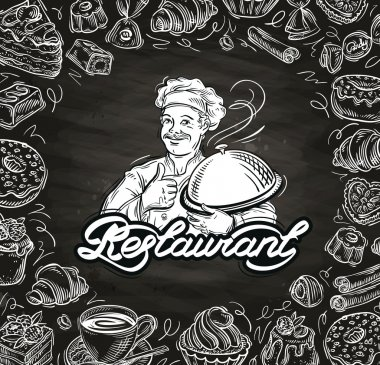 cooking. hand drawn chef and the food. vector illustration