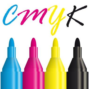 four highlighters CMYK