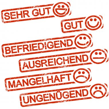 six red stamps with smilies and ratings