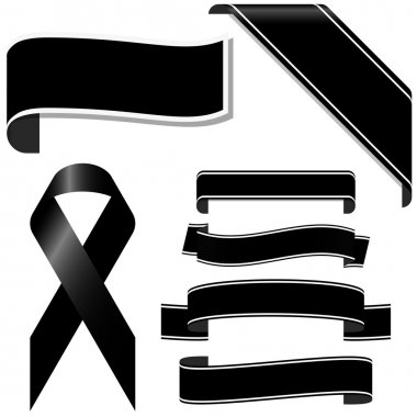 Collection of black mourning ribbon and banners for sorrowful times stock vector