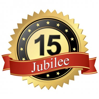 Jubilee button with banners - 15 years