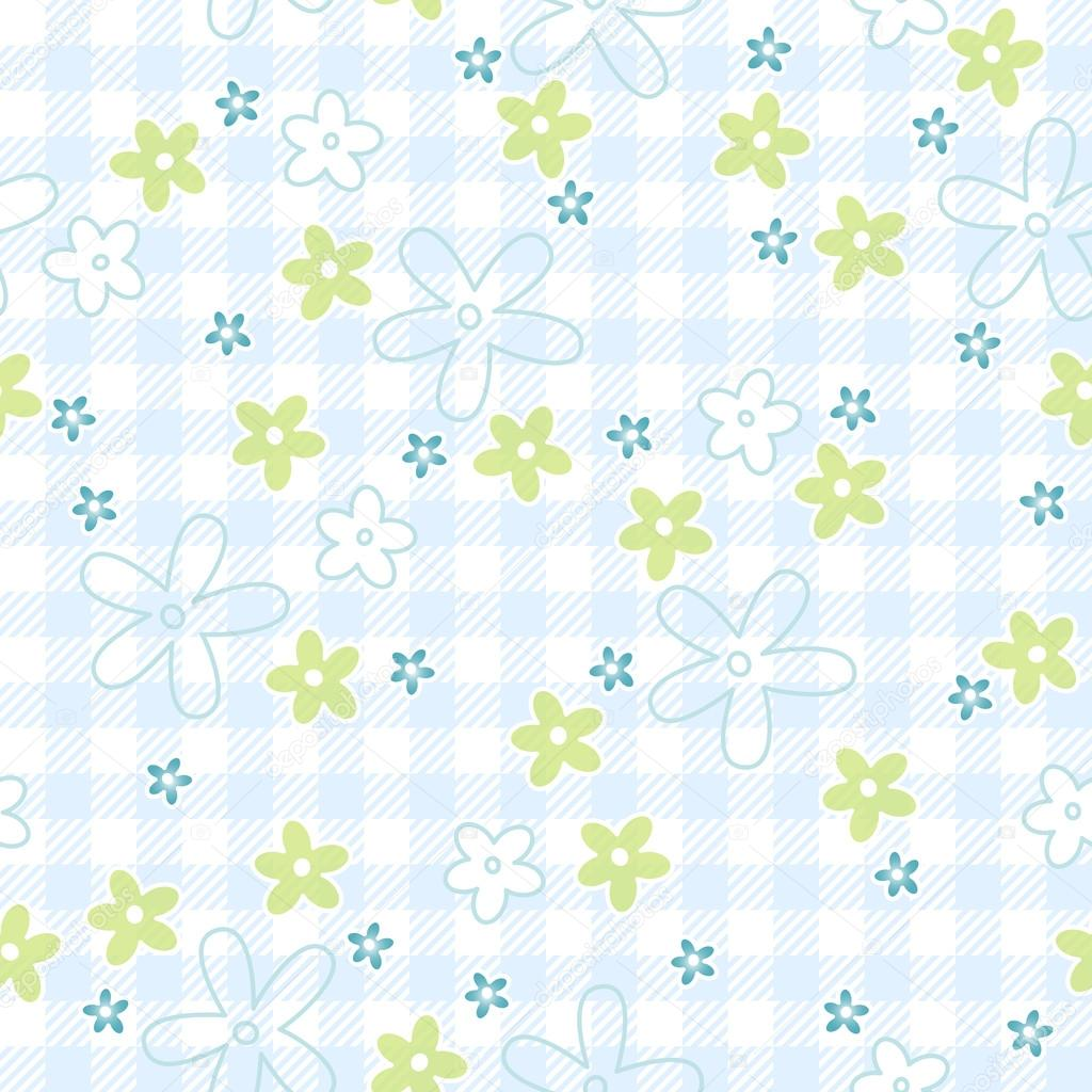 Blue flowers on checkered background - vector endlessly